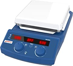 Lab Magnetic Hot Plate Stirrer, Four E's 7 Inch LED Digital Mixer Heater Stirrer, 50-1500rpm, up to 510°C, with Timer, Cer...
