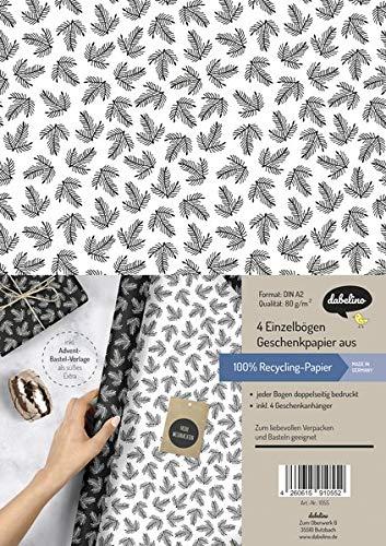 Geschenkpapier Set Weihnachten: schwarz-weiße Tannenzweige: 4x doppelseitige Einzelbögen + 4x Geschenkanhänger