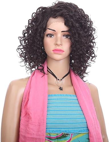 Synthetische Kl el Perücke Für Frauen, 14 Zoll Schwarz Lockly Perücken Natürliche Haarlinie, HochtemperaturBeste ige Faser, Nicht Gewirr