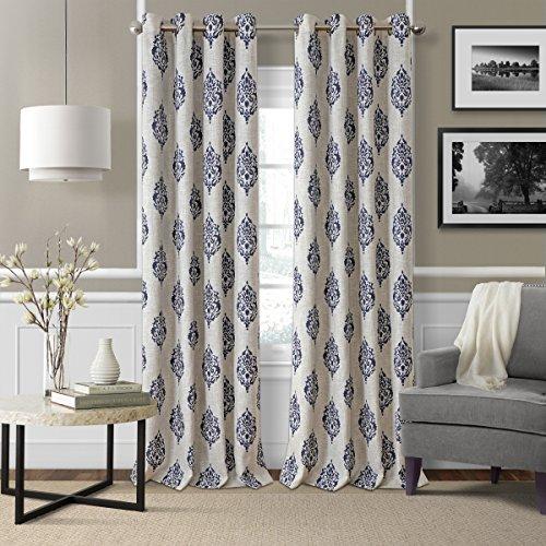 "Elrene Home Fashions Navara Medallion Room Darkening Window Curtain Panel, 52"" x 95"" (1, Navy"