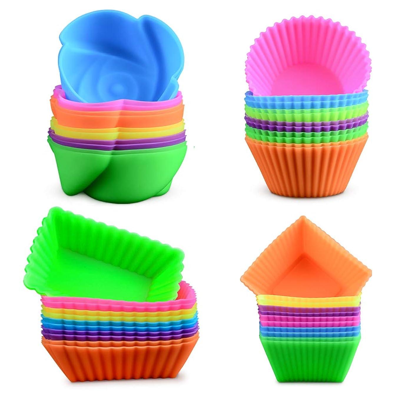 マーカーバン喜劇シリコン製ベーキングカップ カップケーキライナー 再利用可能なシリコン型 48個入り 円形、長方形、正方形、花、BPAフリーの食品グレードシリコン製