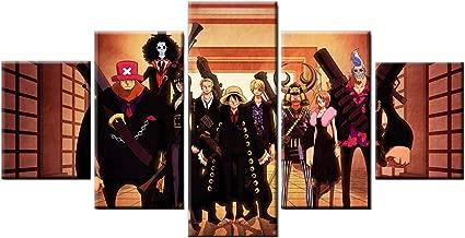 Pangoo art Frameless 5 Pcs Japanese Anime One Piece Poster Print Canvas Painting Wall Decor (One Piece, 8x12 x2pcs,8x16 x2pcs,8x20 x1pcs)