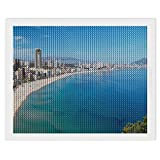 Diamond Painting Artwork Awesome Benidorm Beach Spain Landscape 5D Diamond Painting by Number Kits Perfect for Relaxation and Home Wall Decor (45x55 cm)