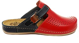BRIL Dr Punto Rosso Y77 Leather Slip-on Womens Ladies Mule Clogs Slippers Shoes