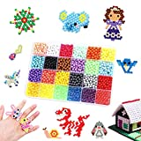 Biliqueen 24 Colors 2400+Pcs Sticky Fuse Beads Kids Arts and Crafts Magic Non Toxic Beads for Kids Gift for 6-10 Year Old Girls Jewelry Making Beads Birthday Gifts for Kids DIY Kit Water Spray Beads