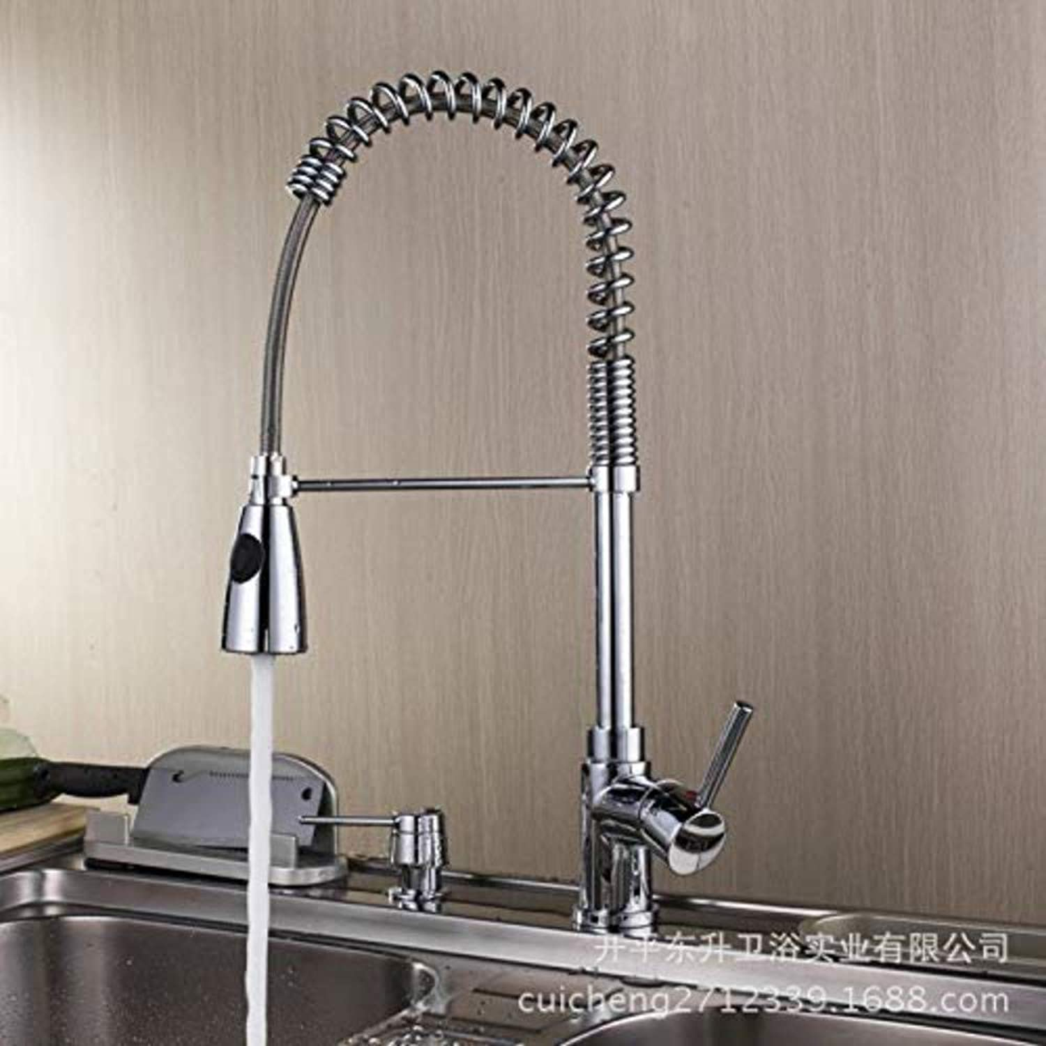 Chrome-Plated Brass Faucet Dish Basin Sink Faucet Pull Type Hot and Cold Kitchen Sink Sink Faucet