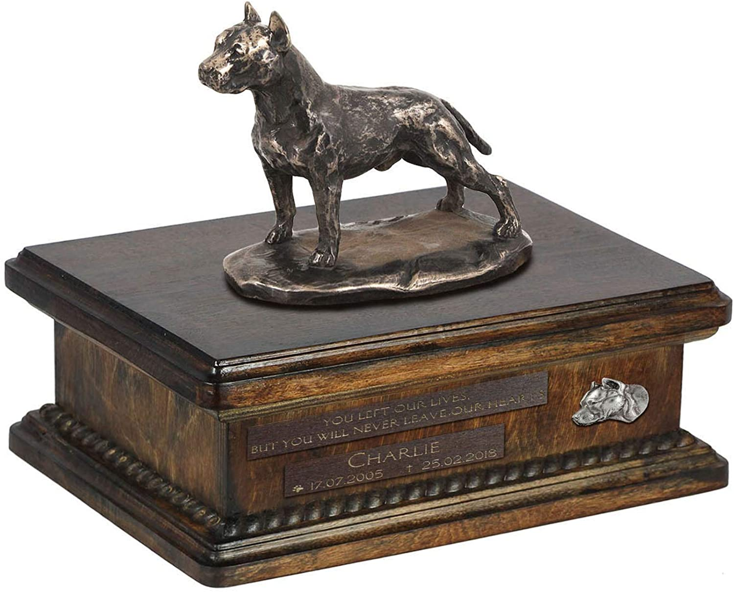 American Staffordshire Terrier 2, Urn for Dog Ashes Memorial with Statue, Pet's Name and Quote  ArtDog Personalized
