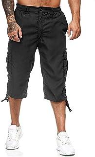 Overdose Pantalones Piratas Hombre Pantalones Outdoor para Hombre Pantalones Multibolsillos con Cintura Elástica hasta La Pantorrilla Pantalon Militar Hombre