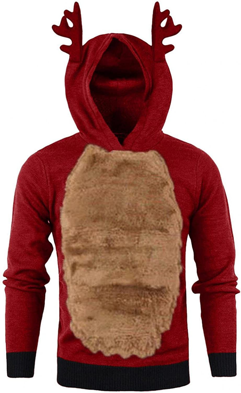 LEIYAN Ugly Christmas Reindeer Hoodies for Men Long Sleeve Casual Warm Thicken Sweatshirts Pullover Xmas Snow Wear