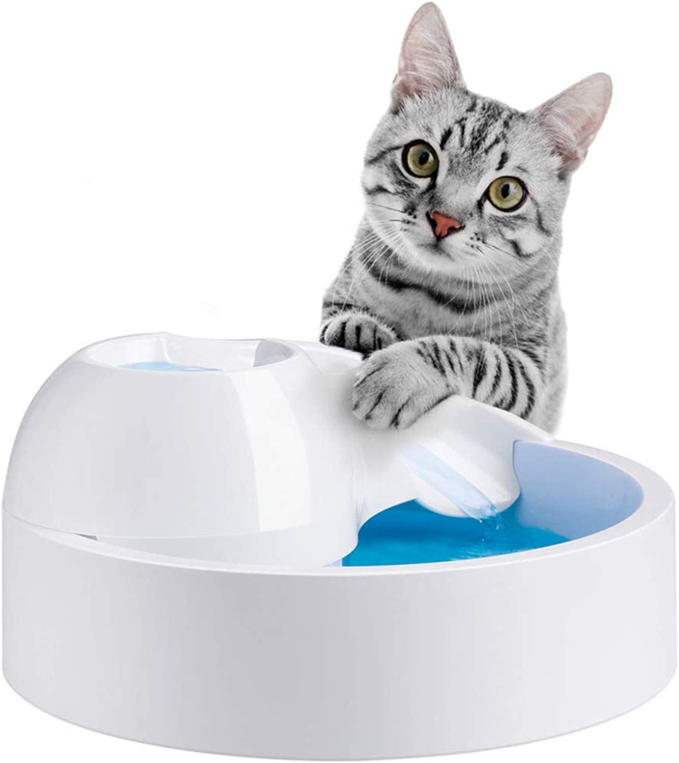 Cats Fountain, Water Fountain with 1.8 L (64 oz) Capacity, Activated Coal Filtration and Quiet Circulation (White).