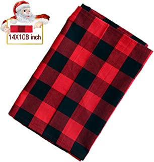 Vantap Cotton Buffalo Check Table Runner, Buffalo Plaid Table Runner for Christmas Decor, Family Dinners or Gatherings, Thanksgiving, Indoor or Outdoor Parties, Daily Use 14x108 Red & Black