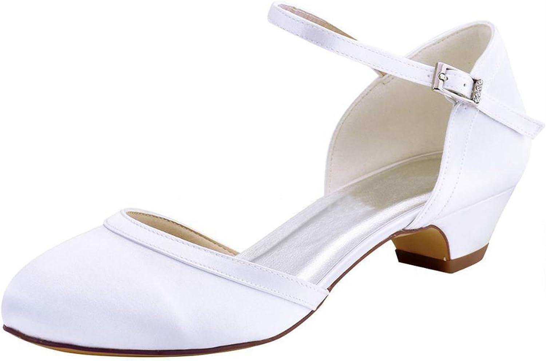 Minishion Women's Chunky Low Heel White Satin Bridal Wedding Pumps US 4