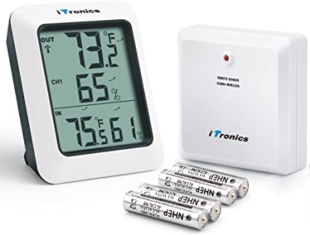 iTronics TP60 Digital Hygrometer Indoor Outdoor Thermometer Humidity Monitor with Temperature Gauge Humidity Meter, Wireless Outdoor Hygrometer, 200ft/60m Range