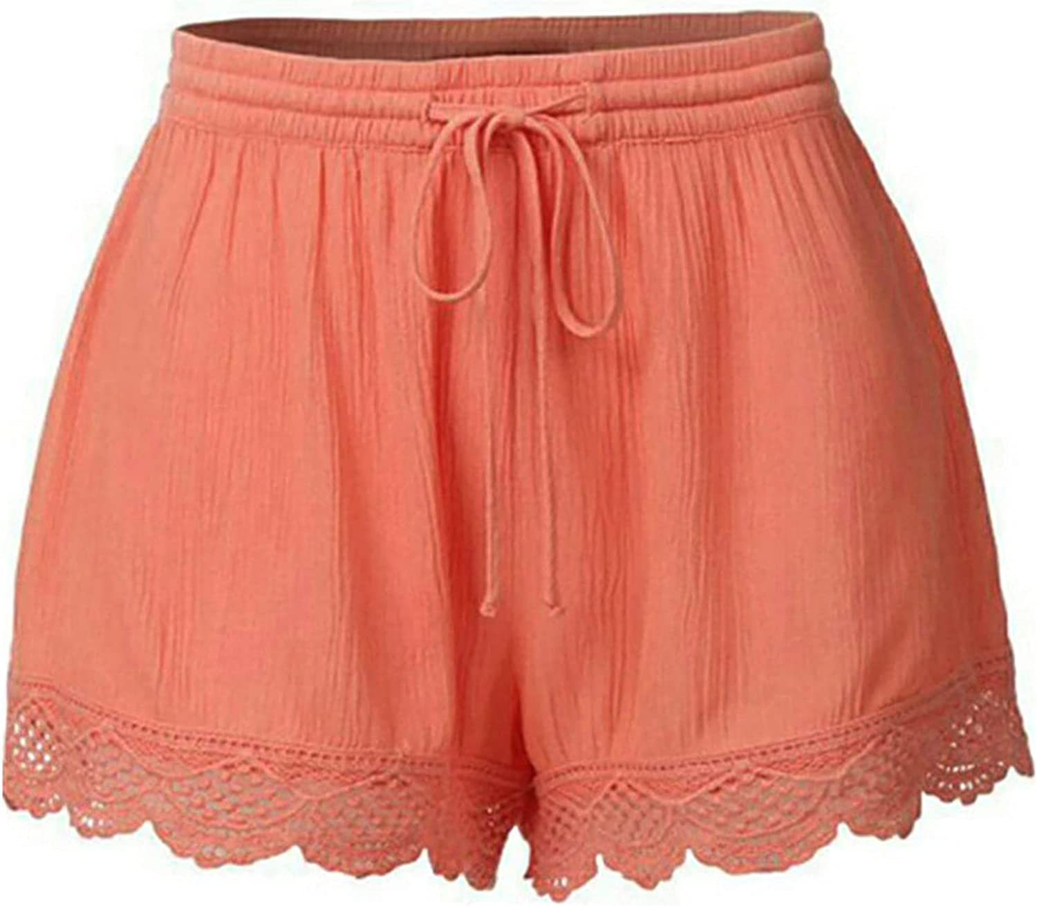 Womens Casual Shorts Plus Size Comfy Lace Drawstring Yoga Shorts Pants Sports Workout Solid Fashion Athletic Short