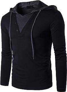 64957e8a058 Tyhengta Men s Casual Long Sleeve T Shirt Slim Fit Henley Hoodie Shirts