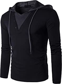 Tyhengta Men's Casual Long Sleeve Henley T-Shirt Slim Fit Hooded Shirts