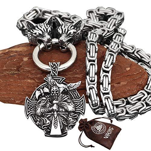 BBYaki Viking Odin 3D Wolfskopf Halskette mit keltischem Wolfskopf Anhänger, Edelstahl Metallkette Titan Stahl Königskette Silber,B,ChainLength60cm