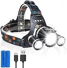 ZBQLKM High-powered LED-koplamp zaklampen, waterbestendig, super heldere LED, meerdere lichtmodi, beste koplamp voor kampe...