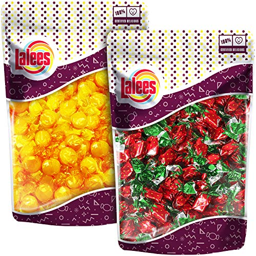 Lalees Butterscotch Discs Hard Candy - Strawberry Filled Hard Candy - Deluxe Bon Bons Buds - Wrapped Bulk Candy