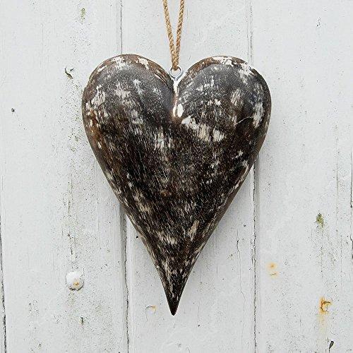 Grand Coeur blanc antique en bois de mangue