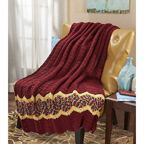 Herrschners Spiced Ripple Throw Crochet Afghan Kit