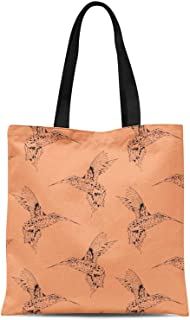 S4Sassy Green King Fisher Bird Printed Re-Usable Tote Bag Women Shoulder Handbag Travel Shopping Bag 16x12 Inches