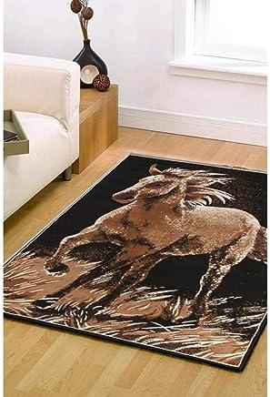 Awesome Horse Design Floor Rug Covering Large Carpet Flooring Rugs Beige Black 230x160cm