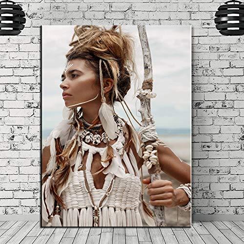ganlanshu Rahmenlose Malerei Inderin Nordic Poster Mädchen Kunst Leinwand Poster und Drucke Wohnzimmer Home DecorationZGQ2157 40X60cm