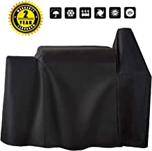 Utheer Grill Cover Waterproof for Pit Boss 820 Deluxe/820D, Rancher XL/Austin XL/1000S/1100 Wood Pellet Grills with The Side Tray, Heavy Duty Fabric Black Barbeque BBQ Grill Covers