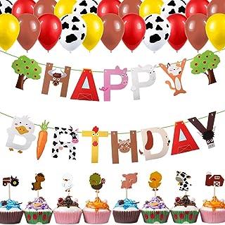Farm Animal Party Decorations, Barn Farm Animal Banner Balloon Kit, Cow Farmhouse Barnyard Theme Baby Shower Birthday Party Supplies Decorations