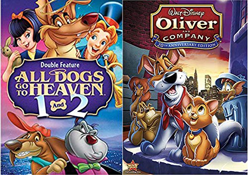 Why Should I Worry? Disney Oliver & Company + All Dogs go to heaven Part 1 & 2 Cartoon Movie DVD Animated Triple Feature Set Bundle