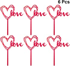 BESTOMZ 6pcs Heart Cupcake Picks Love Cake Topper Cocktail Sticks Food Toothpicks Birthday Wedding Party Cake Decorations