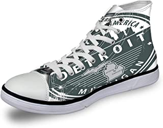 High Top Classic Casual Canvas Sneakers Lace ups Casual Walking Shoes,Damask Inspired Abstract Eastern Culture Pattern Ornamental Floral Grunge Design - Womens