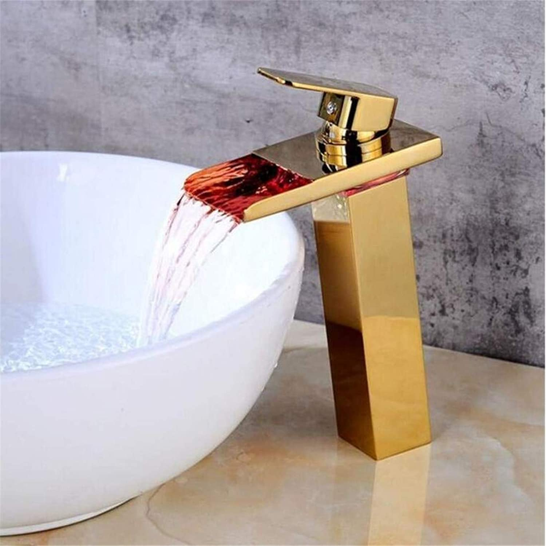 Retro Heier Und Kalter Wasserhahn Mixer Luxusüberzugwasserhahn Messing Hei Und Kalt Chrom Golden Light Glowing Counter Basin Led Wasserhhne