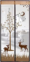Smiley-Store Magnetic Screen Door Heavy Duty for Protect Insect Mosquito Fly Bug - Decorations Magnets Screens Net Mesh - Patio Magnet Curtain Doors Decor Screen Cute Deers Size 90x210cm (Brown (B))