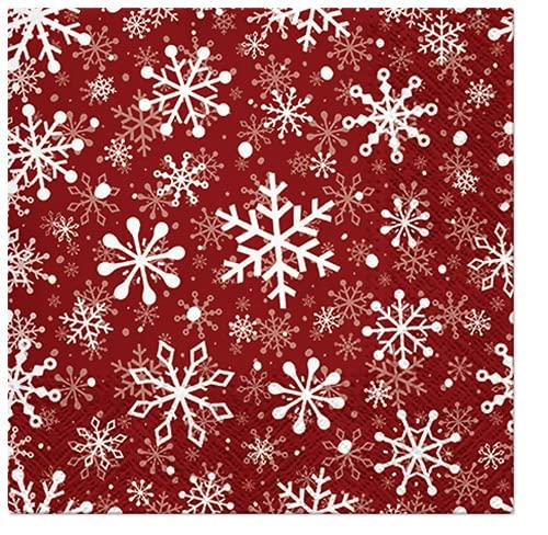 20 servilletas de copos de nieve blancos sobre rojo   invierno  ...