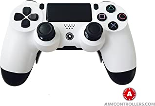 PS4 DualShock Custom Wireless Controller. AiMControllers White Design with 4 Paddles. Upper Left Square, Lower Left X, Upper Right Triangle, Lower Right O NO REMMAPING