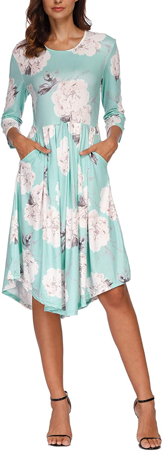 Gihuo Women's Casual 3/4 Sleeve Floral Dress with Pockets