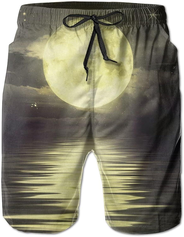 Men's Shorts Moon NightBeach Board Short Elastic Waist Trunk Quick Dry Swim With Pockets