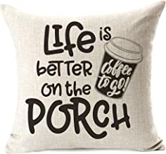 963RW الحياة أفضل على أغطية وسادة الشرفة، مضحك فنجان قهوة القطن الكتان رمي وسادة القضية وسادة السرير الشرفة كوتش أريكة ديك...
