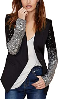 Women's Sequin PU Leather Contrast Color Block Business Blazer Coat Slim Fit