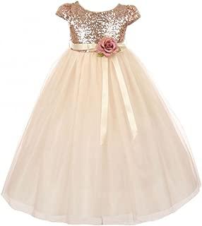 Girls Dress Cap Sleeve Sequin Bodice Flower Pageant Party Flower Girl Dress
