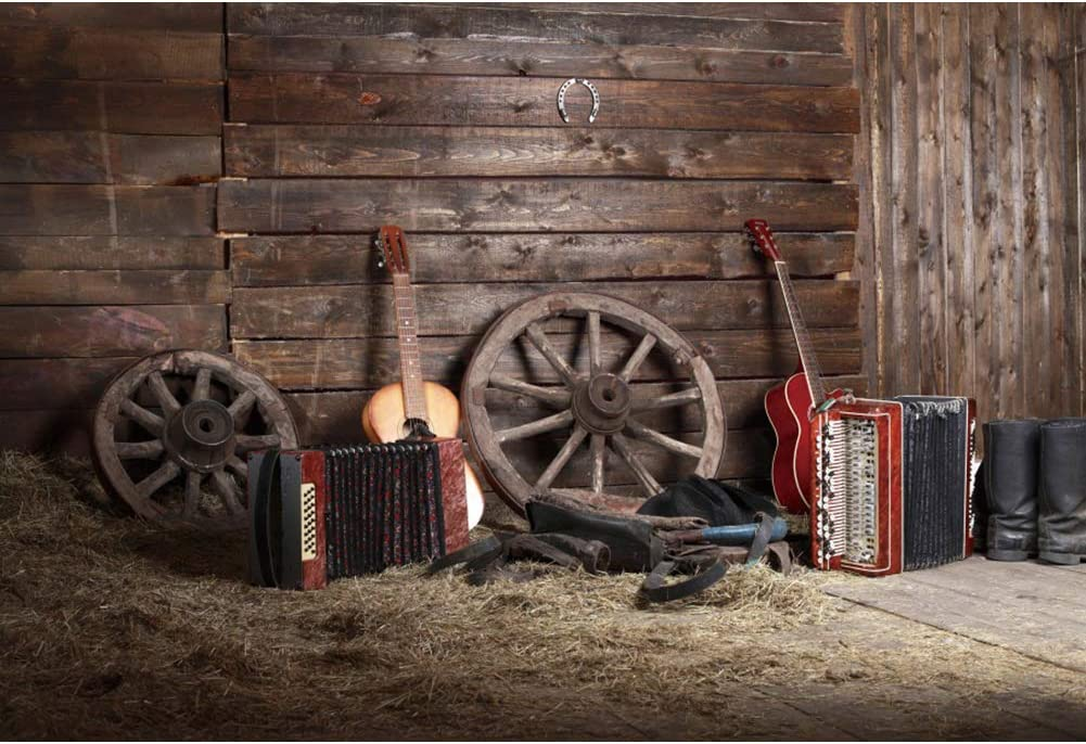 Leyiyi 8x6.5ft Max 72% OFF Rustic Quantity limited Music Barn Rock Pl Backdrop Guitar Vintage