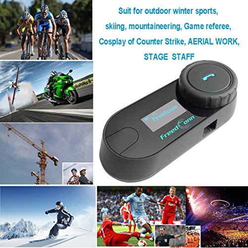 FreedConn Motorrad Intercom TCOM-SC Helm Bluetooth Headset-Gegensprechanlage für Motorrad-Skifahren LCD-Bildschirm / FM Radio / Freisprechen / Reichweite-800M / 2-3Riders Pairing / Schwarz - 9