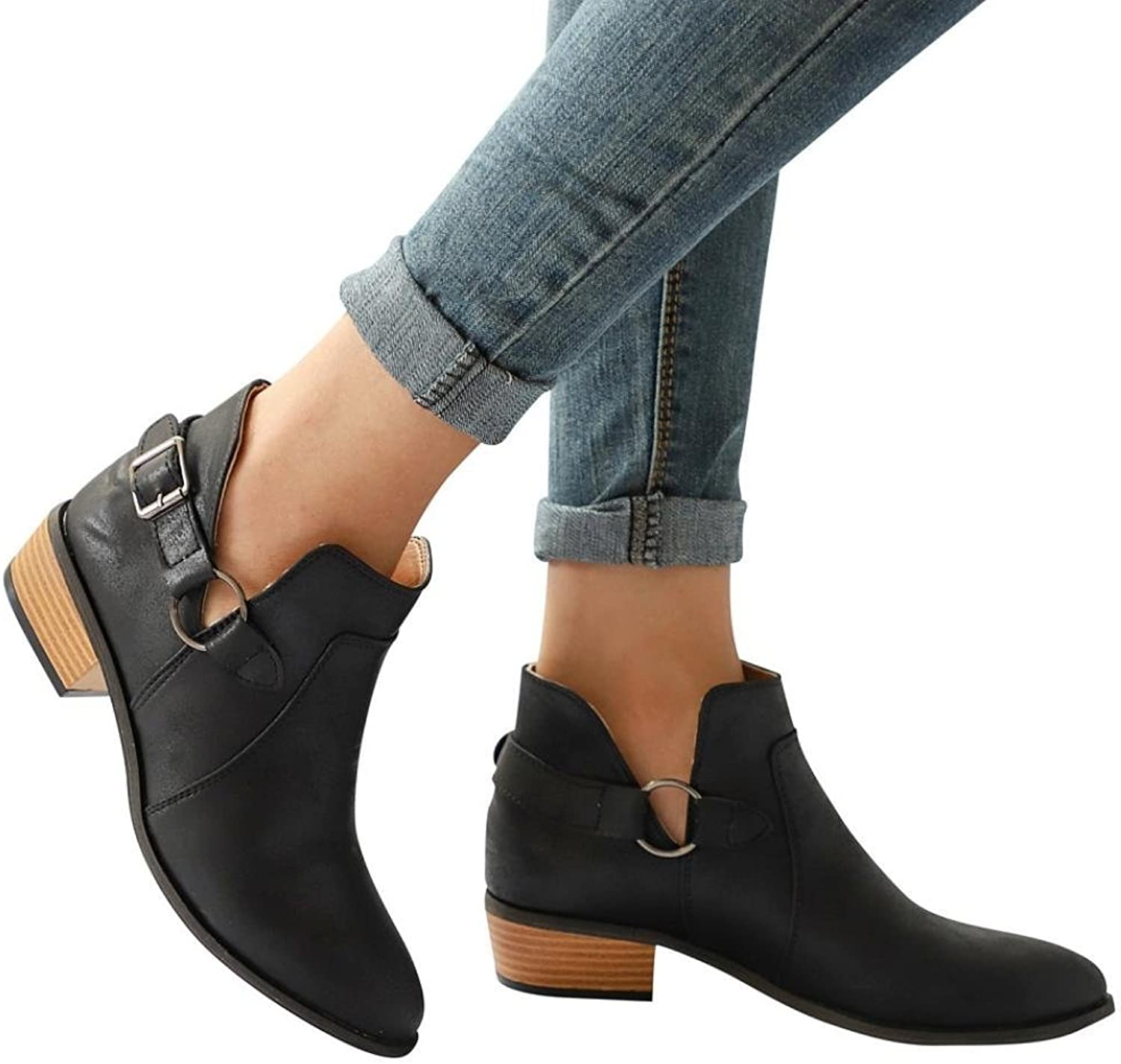 Buckled Strap Booties Women Boots Pointed Toe Boots Low Block Heel Ankle Boots (US 5.5, Black)
