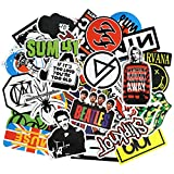 Rock Band Music Stickers (100pcs) for Guitar, Laptops, Water Bottles, Cars, Travel Case, Skateboard, Luggage, Vintage Vinyl Waterproof Sticker and Decals Pack