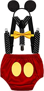 MYRISAM Baby Boys Mickey Costume 1st Birthday Cake Smash Photo Prop Outfit Diaper Cover Bloomers Suspenders Bow Tie Headband