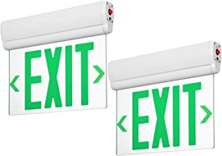 LEONLITE LED Edge Lit Green Exit Sign Single Face with Battery Backup, Rotating Panel, UL Listed, AC120V/277V, Ceiling/Left End/Back Mount Emergency Light for Hotel, Restaurant, Hospitals, Pack of 2