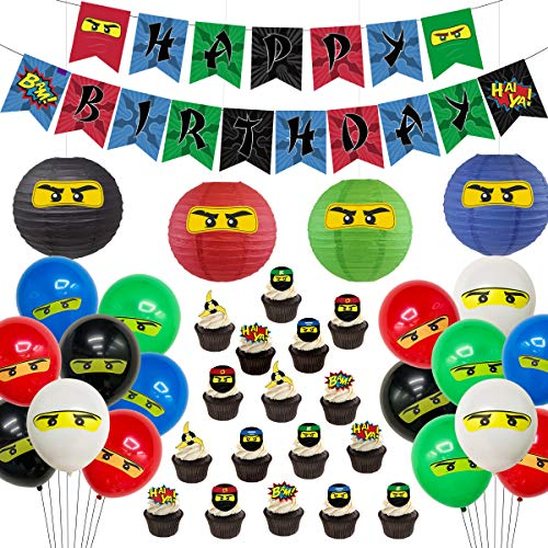 Ninja Birthday Party Supplies Decorations - Ninja Happy Birthday Banner 24 Cupcake Toppers Ninja Balloons Stickers for Boys Ninja Warrior Themed Birthday