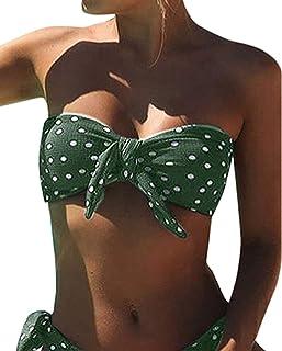 comprar comparacion UMIPUBO Bikini Mujer Dos Piezas Ropa con Estampado de Lunares Push-Up Traje de baño con Lazo Acolchado Conjunto de Bikini ...